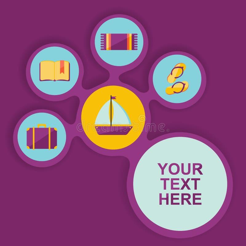 Cartel con los iconos para viajar stock de ilustración
