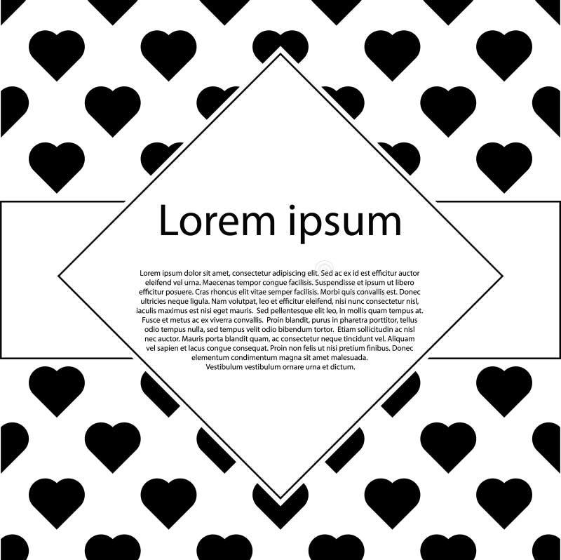 Cartel con los modelos de corazones negros Postal del día de tarjetas del día de San Valentín imagen de archivo