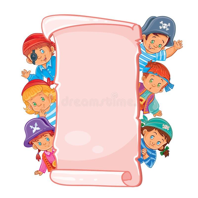 Cartel con los niños jovenes en ropa del carnaval ilustración del vector