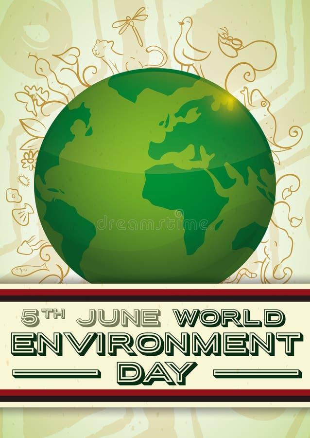 Cartel con tierra verde y biodiversidad en el estilo del garabato, ejemplo del vector stock de ilustración