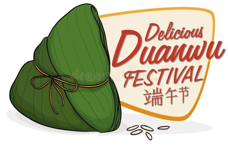 Cartel con Zongzi delicioso para la celebración de Duanwu, ejemplo del vector stock de ilustración