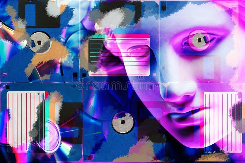 Cartel conceptual moderno del arte con la estatua antigua de la cara y el disco blando Collage del arte contemporáneo stock de ilustración