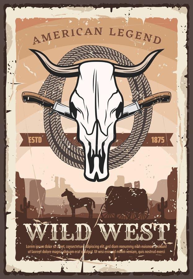 Cartel, cráneo del toro y cuchillos retros del oeste salvajes ilustración del vector