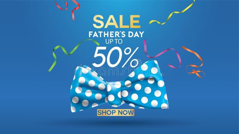 Cartel creativo de padre de la promoción feliz del día, de la venta o diseño de la plantilla de la bandera que hace compras con e ilustración del vector