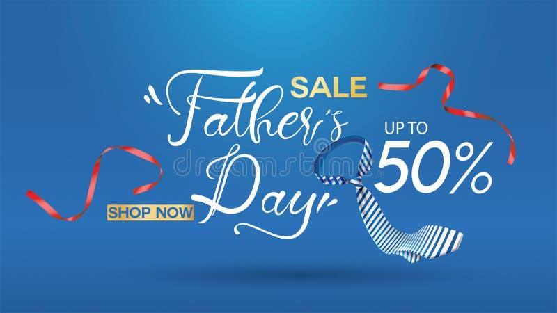 Cartel creativo de padre de la promoción feliz del día, de la venta o diseño de la plantilla de la bandera que hace compras con e libre illustration