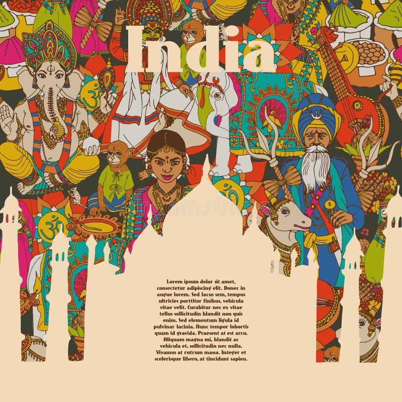 Cartel cultural de los modelos de los símbolos de la India ilustración del vector