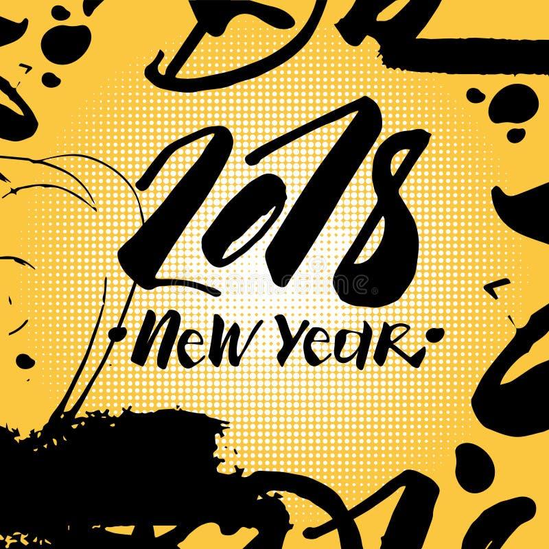 Cartel de Art Comic Greeting Card Holiday del estallido del Año Nuevo 2018 sobre Dot Background colorido stock de ilustración