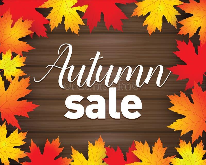 Cartel de Autumn Sale El rojo del otoño, amarillo y la naranja se va en fondo de madera oscuro Plantilla de la bandera de la vent libre illustration
