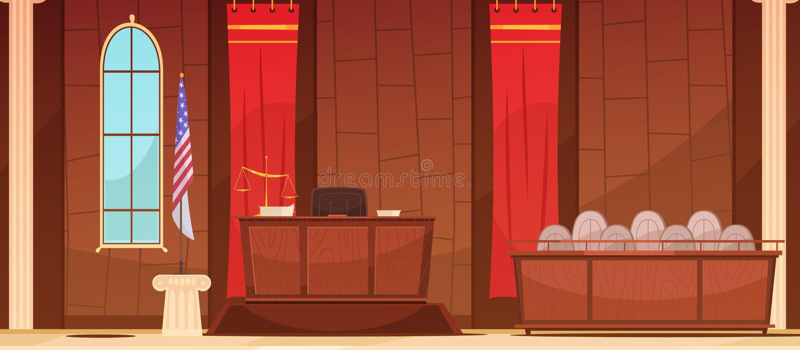 Cartel de Courtroom Sitting Retro de la justicia de la ley ilustración del vector