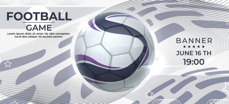 Cartel de fútbol Banner de juego de fútbol con baile realista, volante de invitación para la competición deportiva Esparcimiento  libre illustration