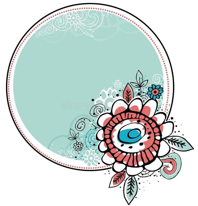 Cartel de fleurs d'attraction de main avec la trame de cercle illustration libre de droits