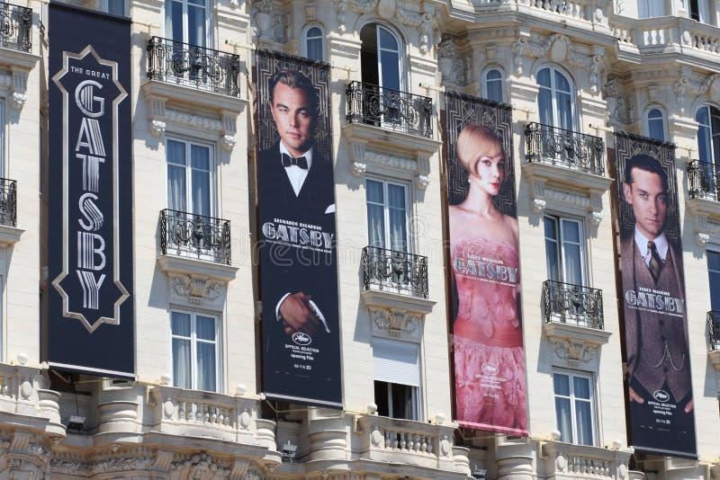 Cartel de Gatsby en Cannes, durante el festival 20 de Cannes fotografía de archivo libre de regalías