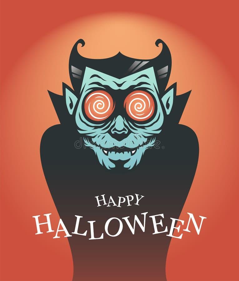Cartel de Halloween con el vampiro de Drácula ilustración del vector