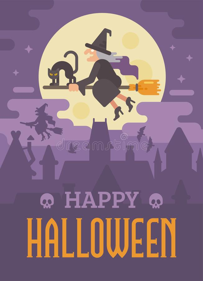 Cartel de Halloween con el viejo vuelo de la bruja en una escoba con un gato ilustración del vector