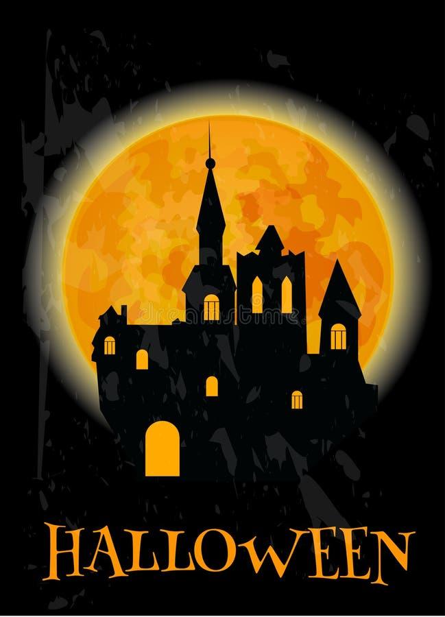 Cartel de Halloween del castillo frecuentado y de la Luna Llena stock de ilustración