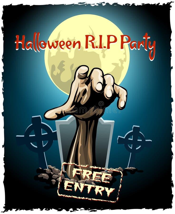 Cartel de Halloween del partido del zombi ilustración del vector