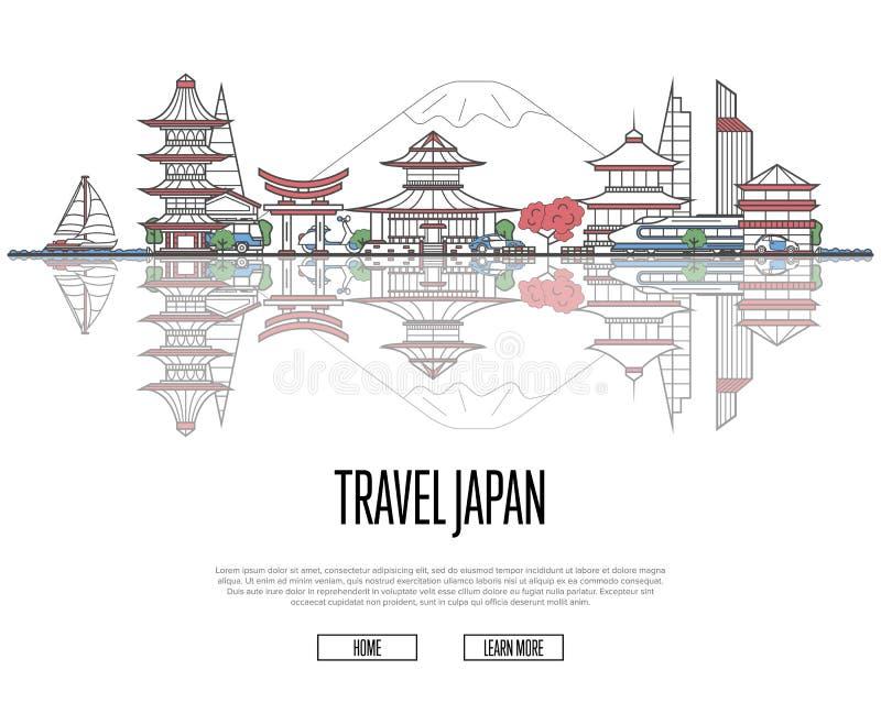 Cartel de Japón del viaje en estilo linear libre illustration