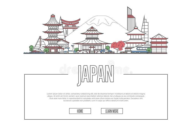 Cartel de Japón del viaje en estilo linear ilustración del vector
