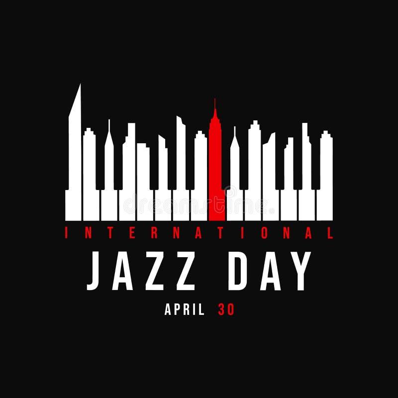 Cartel de Jazz Day de las llaves del piano como horizonte de la ciudad libre illustration