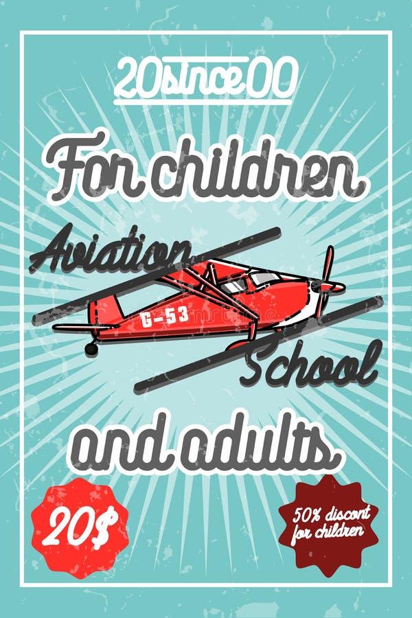Cartel de la aviación del vintage del color libre illustration