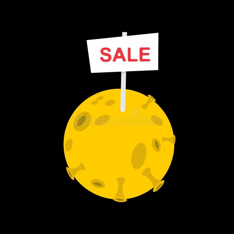 Cartel de la bandera de la venta en la luna venta del ejemplo del vector del planeta ilustración del vector