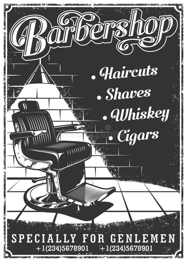Cartel de la barbería del vintage con la silla de peluquero ilustración del vector
