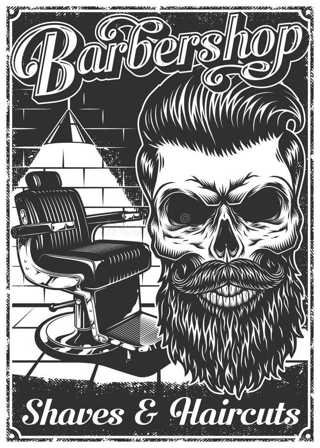 Cartel de la barbería del vintage con la silla y el cráneo de peluquero libre illustration