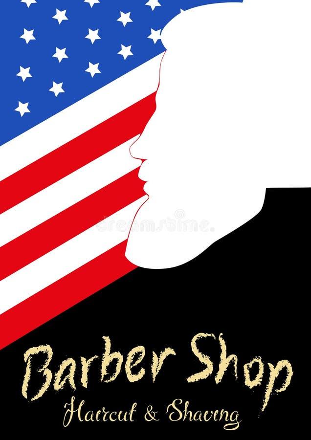 Cartel de la barbería del vintage con la silla de peluquero, texto stock de ilustración