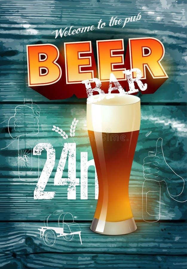 Cartel de la barra de la cerveza del estilo del grunge del vintage en fondo de madera realista Ilustración del vector stock de ilustración