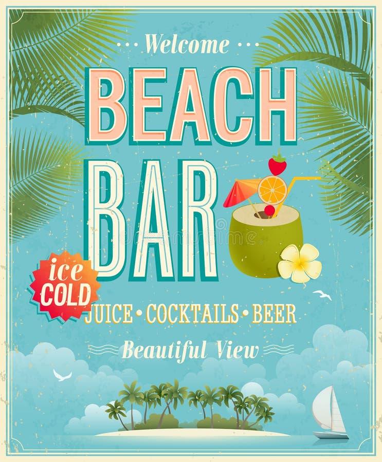 Cartel de la barra de la playa del vintage. libre illustration