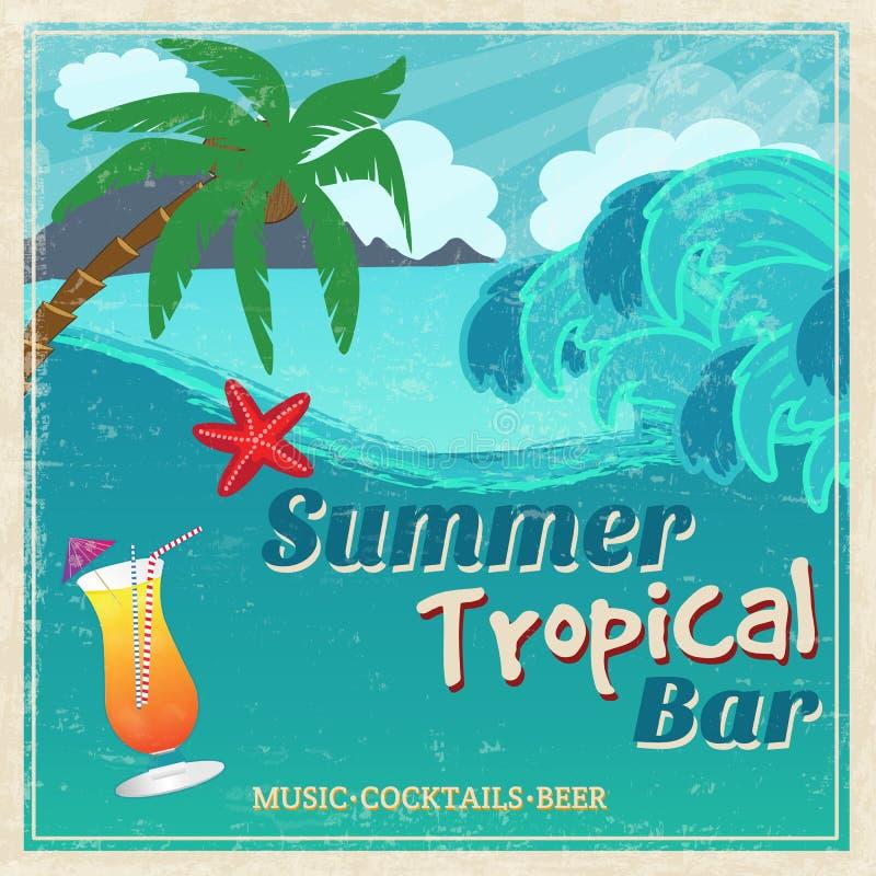 Cartel de la barra tropical de la playa del vintage ilustración del vector