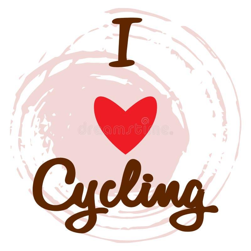 Cartel de la bicicleta con el texto y corazón rojo en rosa stock de ilustración