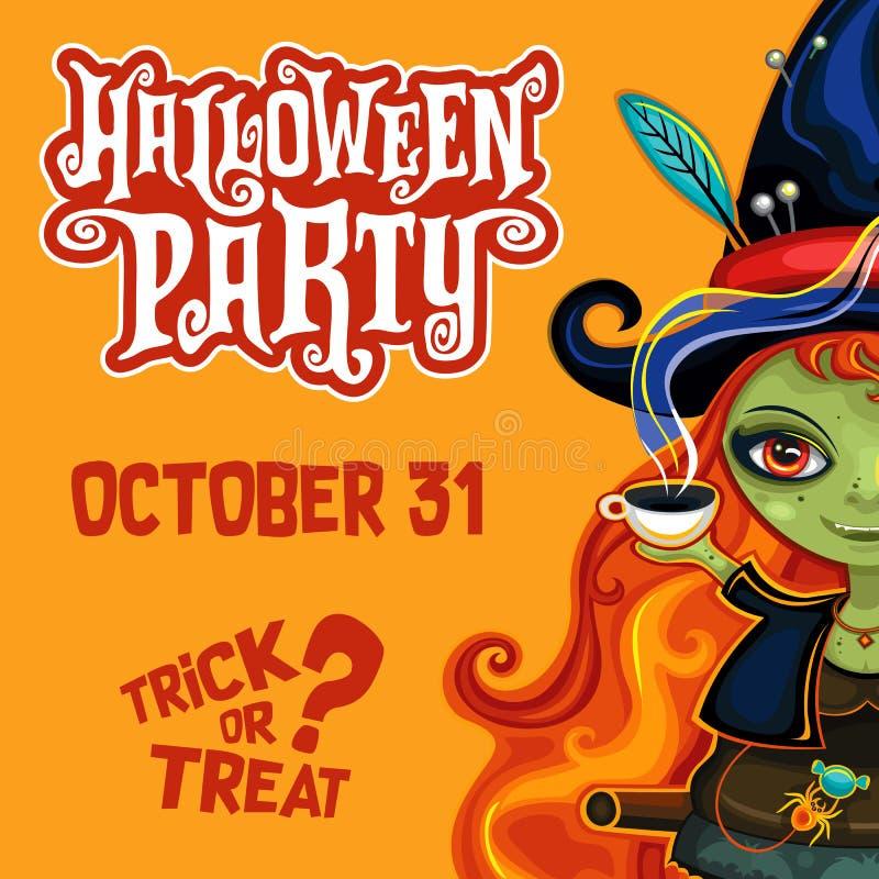 Cartel de la bruja de Halloween del vector con las letras libre illustration