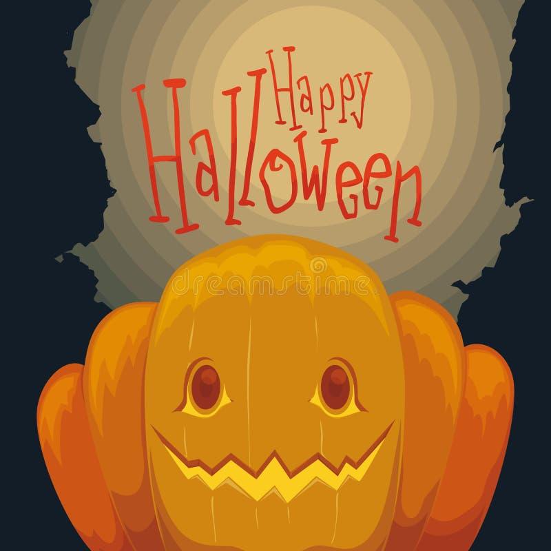 Cartel de la calabaza del feliz Halloween con el fondo fantasmagórico libre illustration