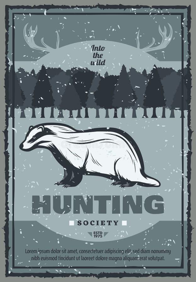 Cartel de la caza del tejón del vintage del vector libre illustration