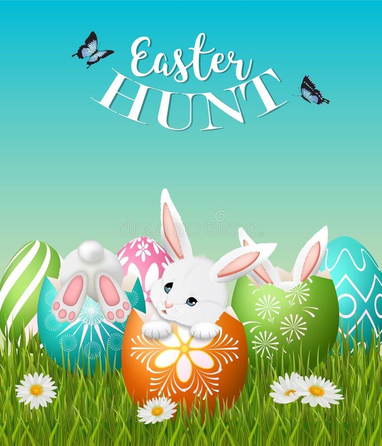 Cartel de la caza de Pascua con tres conejitos y huevos adorables ilustración del vector