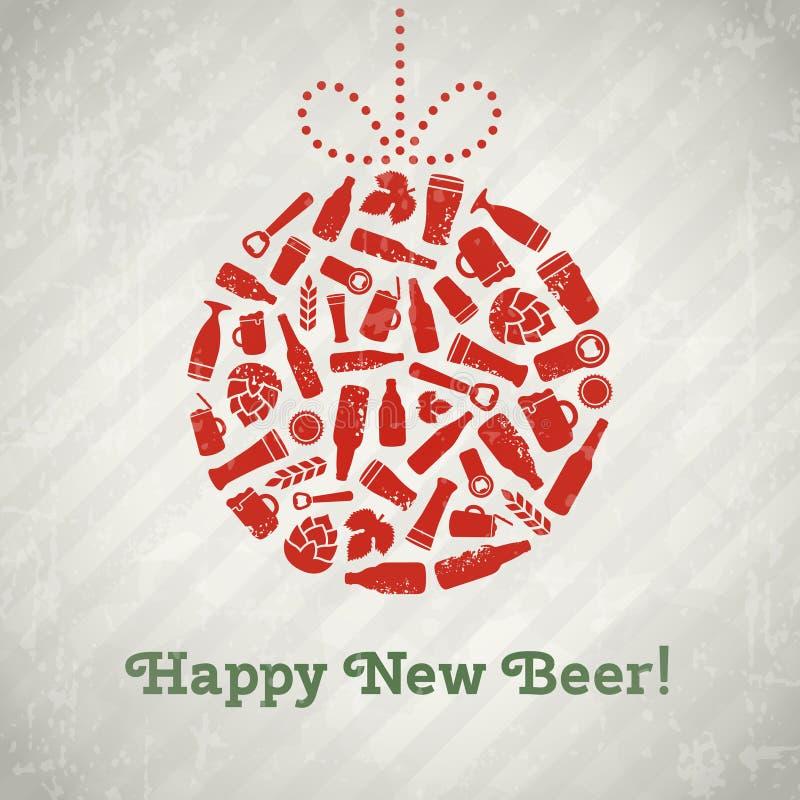 Cartel de la cerveza de la bola de la Navidad del vector libre illustration