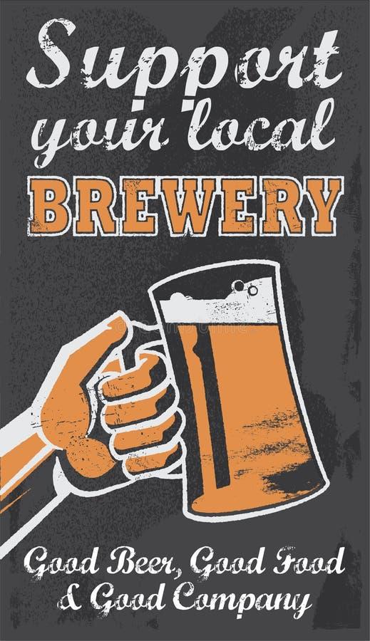 Cartel de la cerveza de la cervecería del vintage - ejemplo del vector de la pizarra libre illustration