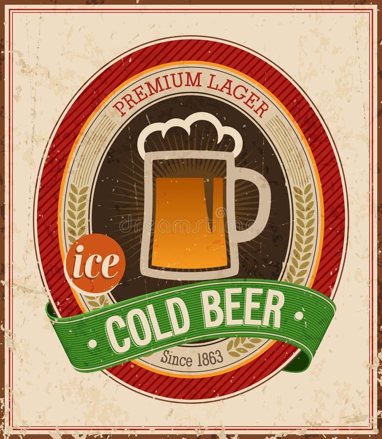Cartel de la cerveza fría del vintage. stock de ilustración
