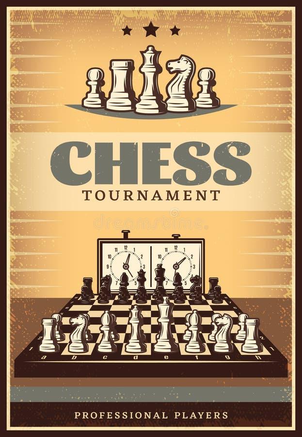 Cartel de la competencia del ajedrez del vintage ilustración del vector