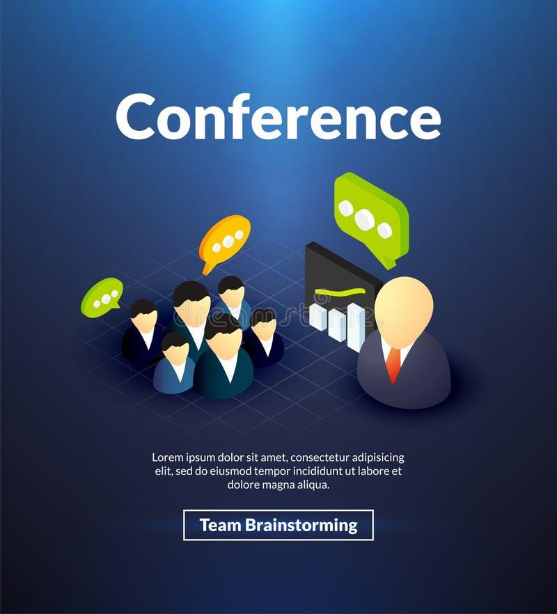 Cartel de la conferencia del diseño isométrico del color stock de ilustración