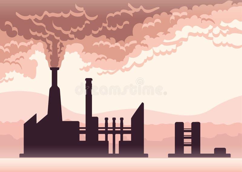 Cartel de la contaminación ambiental Humo de una chimenea de la fábrica Ejemplo del vector con el espacio de la copia ilustración del vector