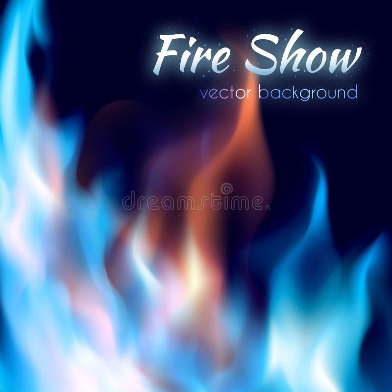 Cartel de la demostración del fuego Rojo abstracto y burning azul stock de ilustración