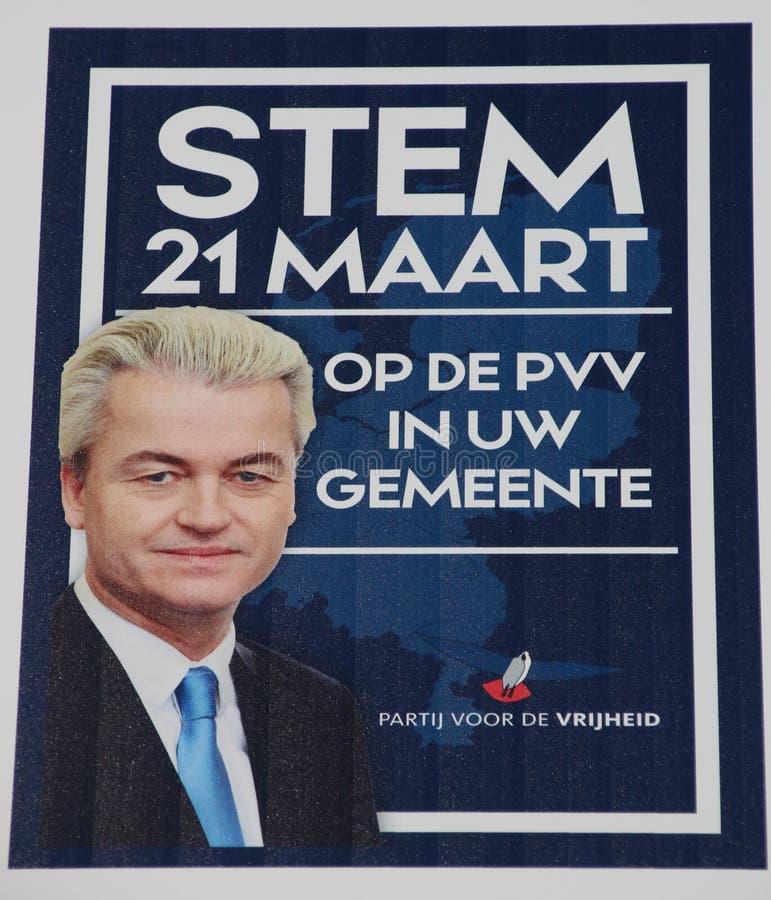 Cartel de la elección general del partido lejos de derecha PVV de Geert Wilders imagen de archivo libre de regalías