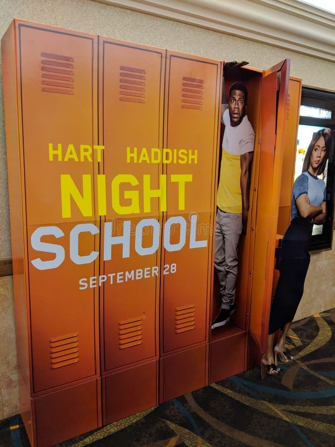 Cartel de la escuela nocturna en cine fotos de archivo libres de regalías