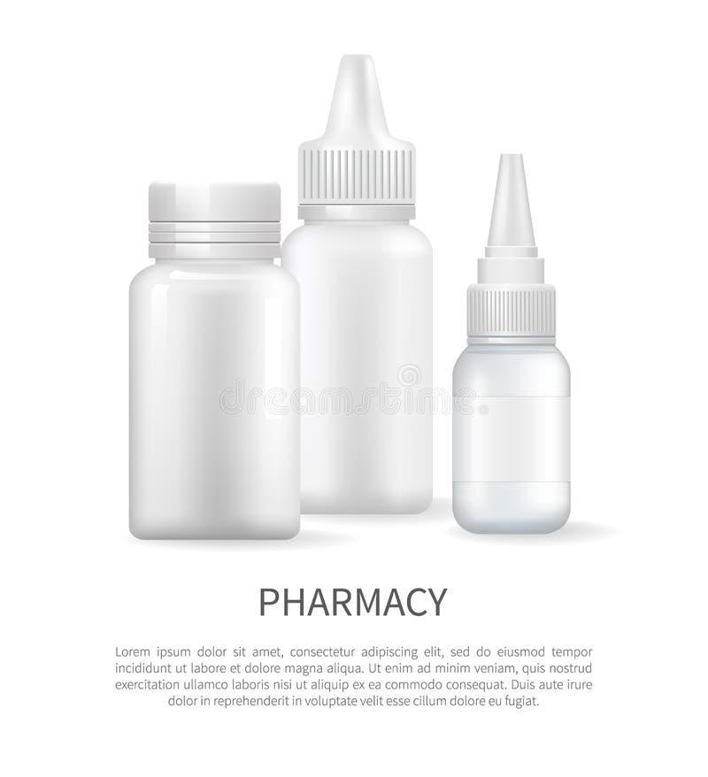 Cartel de la farmacia con la cápsula del envase del espray nasal stock de ilustración