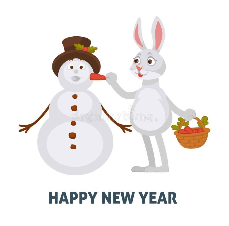 Cartel de la Feliz Año Nuevo, conejo con la zanahoria que crea el muñeco de nieve libre illustration