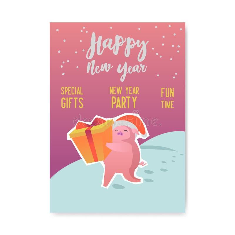 Cartel de la Feliz Año Nuevo Símbolo lindo del cerdo de 2019 años Bandera de la tarjeta de felicitación, invitación, plantilla de stock de ilustración