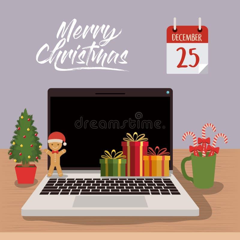 Cartel de la Feliz Navidad con escena del ordenador portátil en vista delantera con la decoración de la Navidad stock de ilustración