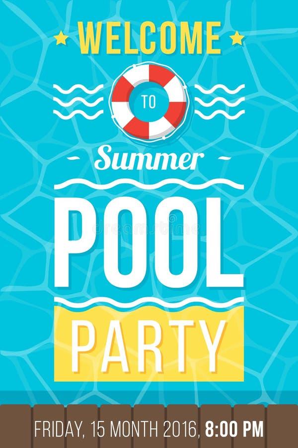 Cartel de la fiesta en la piscina libre illustration